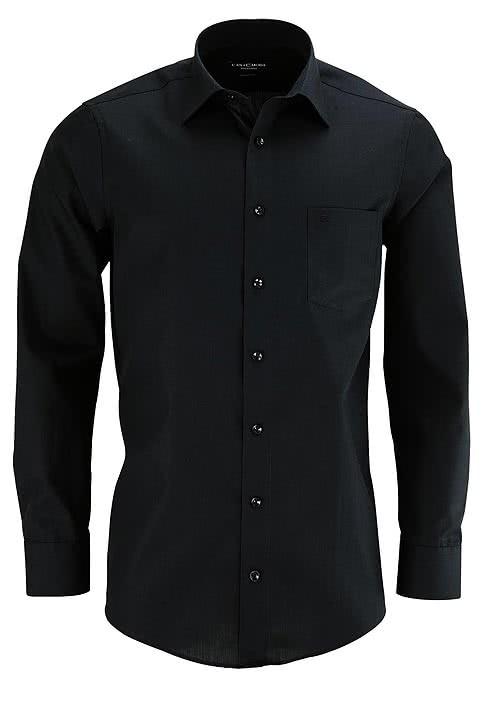 CASAMODA Comfort Fit Hemd Langarm New Kent Kragen Popeline schwarz