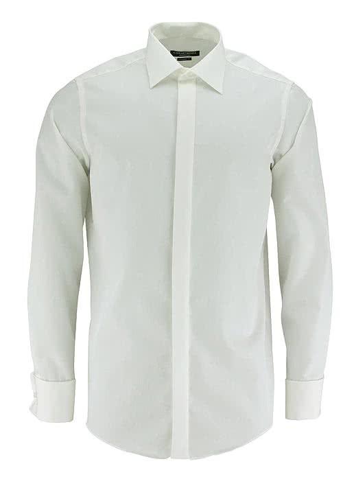 CASAMODA Gala Hemd Langarm ohne Manschettenknopf Popeline beige