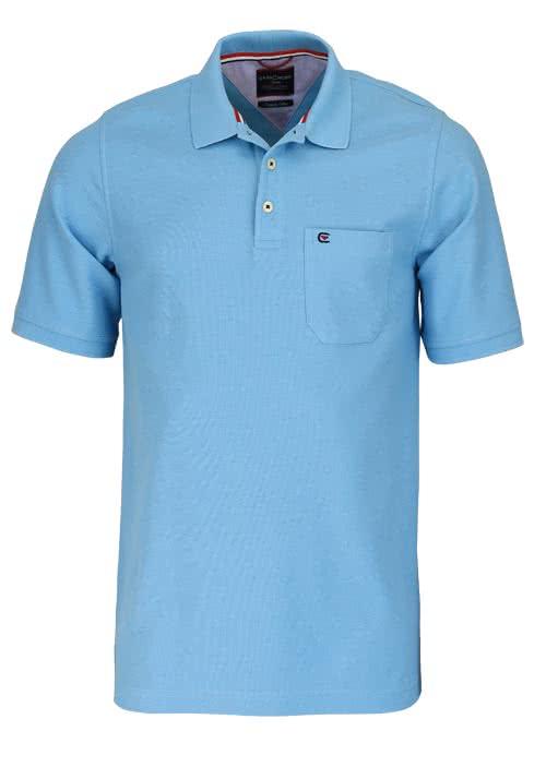 CASAMODA Poloshirt Halbarm Brusttasche reine Baumwolle himmelblau