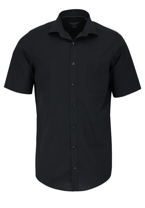 CASAMODA Modern Fit Hemd Halbarm New Kent Kragen Popeline schwarz