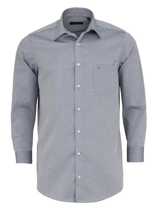 CASAMODA Comfort Fit Hemd extra kurzer Arm Chambray graphit