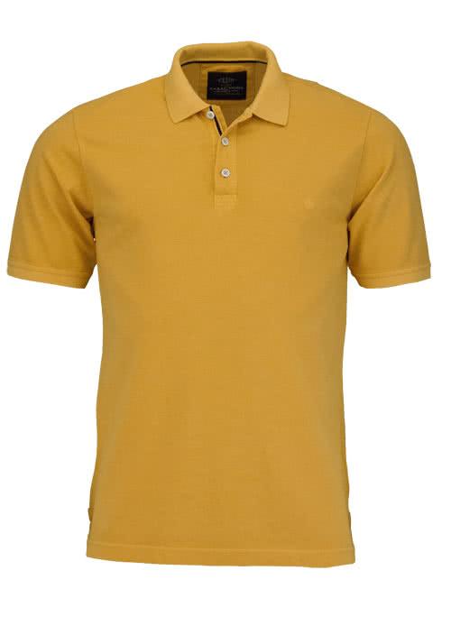 CASAMODA Poloshirt Halbarm reine Baumwolle Vintage Look sonnengelb
