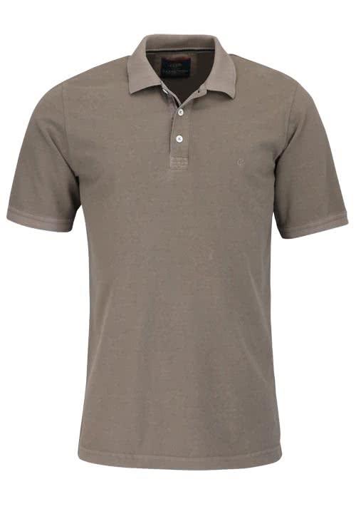 CASAMODA Poloshirt Halbarm reine Baumwolle Vintage Look mittelbraun