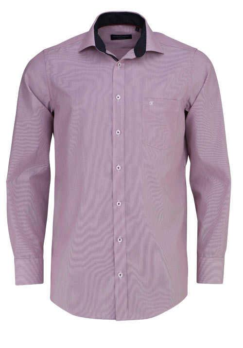 CASAMODA Comfort Fit Hemd Langarm New Kent Kragen Streifen rot