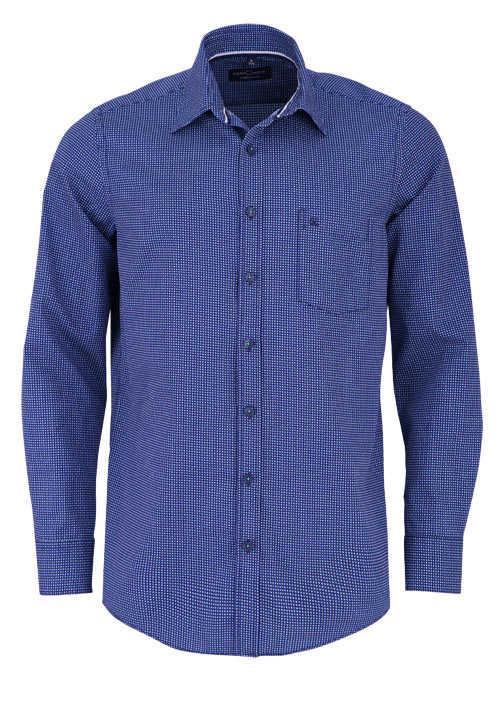 CASAMODA Comfort Fit Hemd Langarm New Kent Kragen Muster dunkelblau