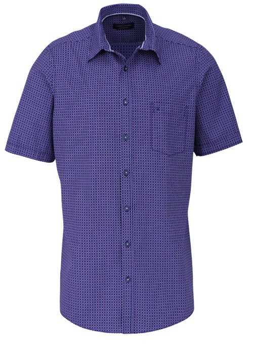 CASAMODA Comfort Fit Hemd Halbarm New Kent Kragen Muster nachtblau