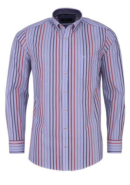 CASAMODA Comfort Fit Hemd Langarm Button Down Kragen Streifen rot