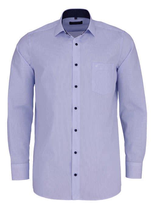 CASAMODA Comfort Fit Hemd Langarm New Kent Kragen Gitterkaro blau