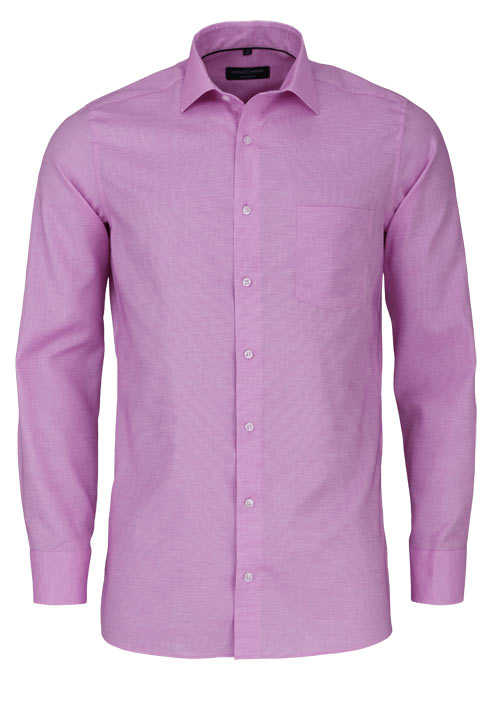 CASAMODA Modern Fit Hemd Langarm New Kent Kragen Struktur rosa