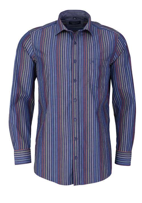 CASAMODA Comfort Fit Hemd Langarm Haifischkragen Streifen blau