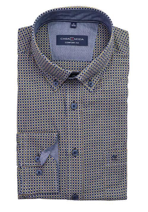 CASAMODA Comfort Fit Hemd Langarm Button Down Kragen Muster gelb