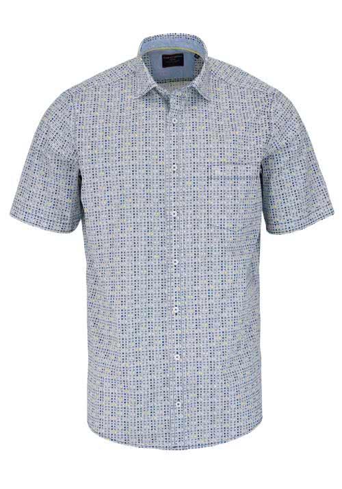 CASAMODA Comfort Fit Hemd Halbarm mit Besatz Muster blau