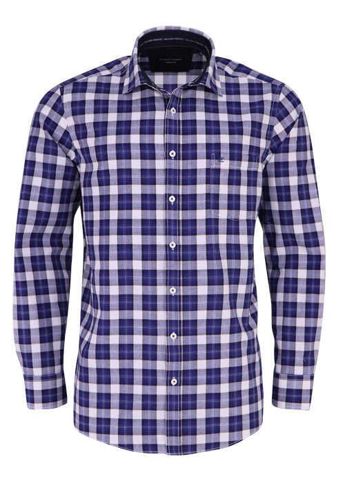 CASAMODA Comfort Fit Hemd Langarm New Kent Kragen Karo blau