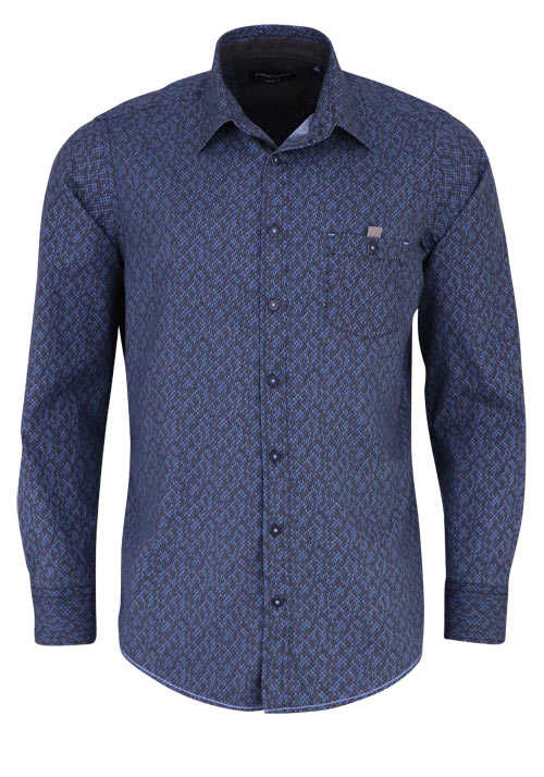 CASAMODA Comfort Fit Hemd Langarm New Kent Kragen Muster blau