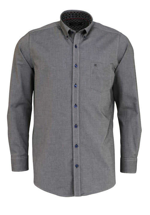 CASAMODA Comfort Fit Hemd Langarm Button Down Kragen Oxford anthrazit