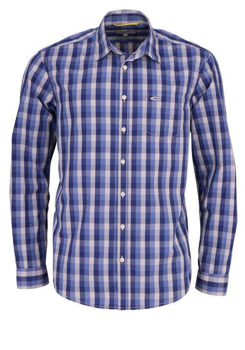 CAMEL ACTIVE Regular Fit Hemd Langarm New Kent Kragen Karo blau