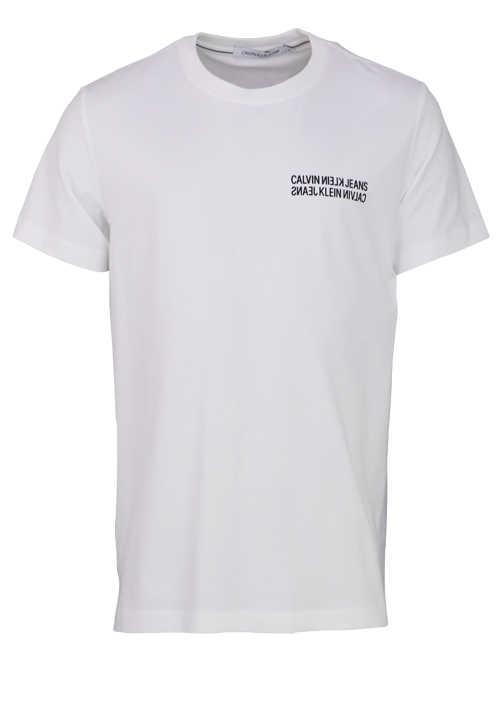 CALVIN KLEIN JEANS Kurzarm T-Shirt Rundhals Statement-Print weiß