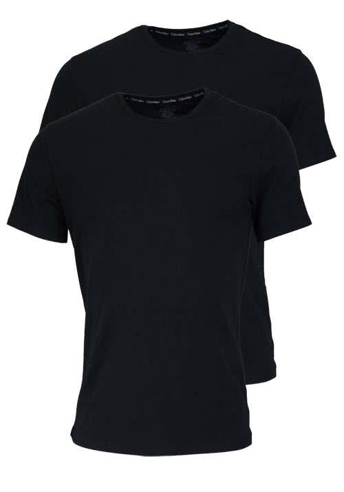 CALVIN KLEIN Halbarm T-Shirt Rundhals Doppelpack schwarz