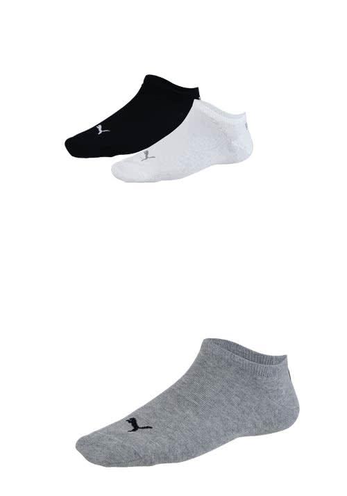 PUMA Sneaker Socken mit Logostick 3er Pack Unisex schwarz/weiß/grau