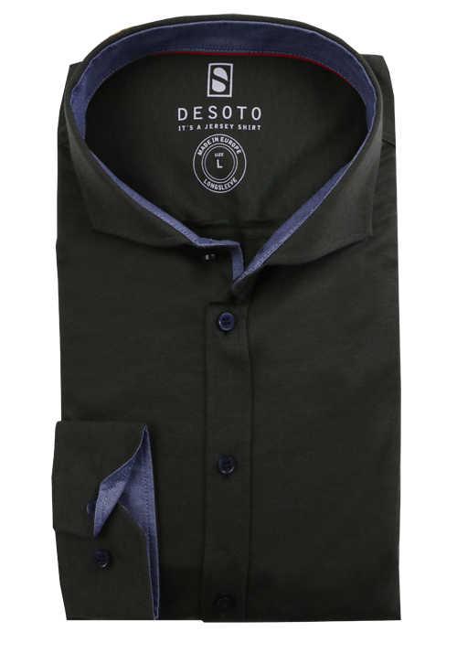 DESOTO Slim Fit Hemd Langarm Haifischkragen Baumwolle Jersey Struktur oliv
