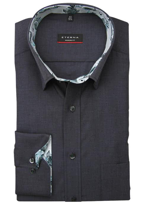 ETERNA Modern Fit Hemd Langarm Under Button Down Kragen anthrazit
