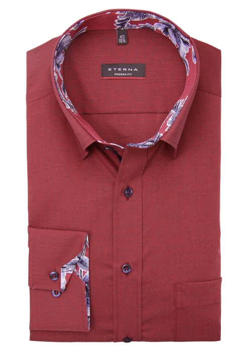 ETERNA Modern Fit Hemd extra Langarm Under Button Down Kragen weinrot