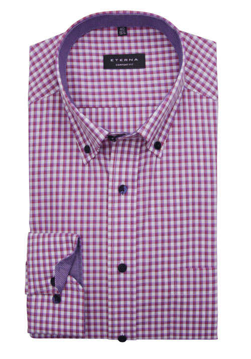ETERNA Comfort Fit Hemd super langer Arm Button Down Kragen Karo rot