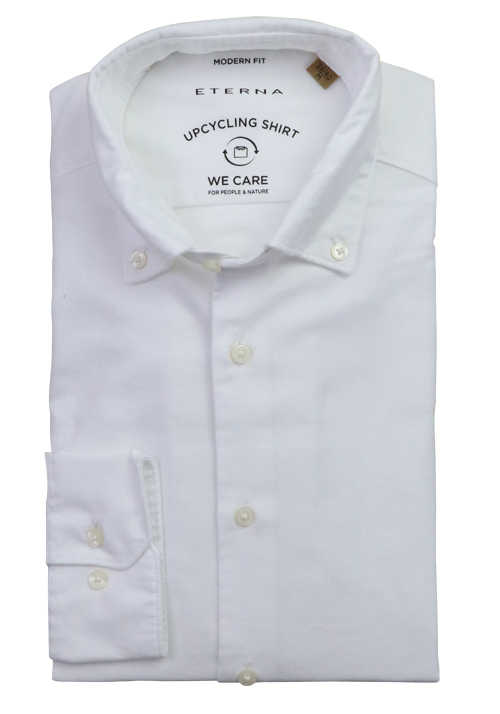 ETERNA Modern Fit Upcycling Shirt Button Down Kragen Stretch weiß