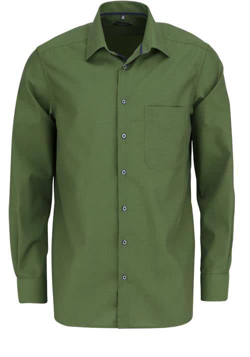 ETERNA Comfort Fit Hemd extra langer Arm New Kent Kragen oliv