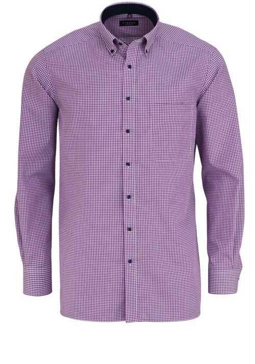 ETERNA Comfort Fit Hemd extra langer Arm Button Down Kragen Karo lila