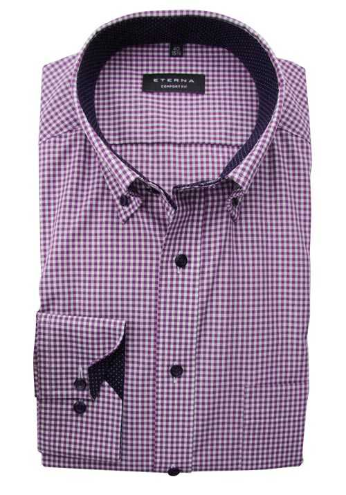 ETERNA Comfort Fit Hemd super langer Arm Button Down Kragen Karo lila