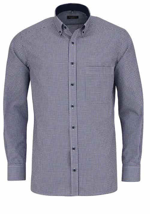 ETERNA Comfort Fit Hemd extra langer Arm Karo dunkelblau
