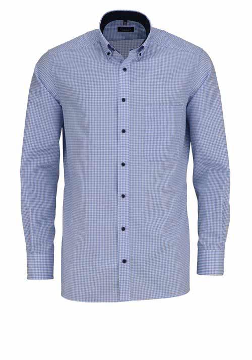 ETERNA Comfort Fit Hemd extra langer Arm Karo hellblau