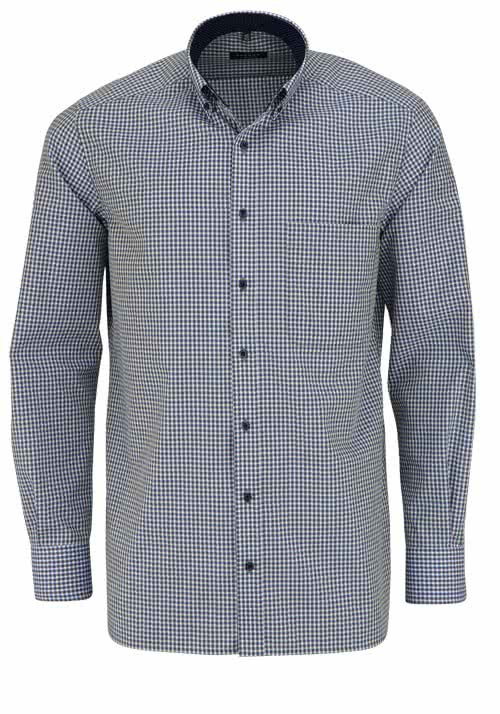 ETERNA Comfort Fit Hemd super langer Arm Button Down Kragen Karo grün