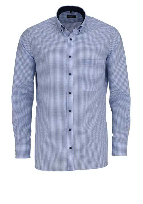 ETERNA Comfort Fit Hemd super langer Arm Button Down Kragen Karo hellblau