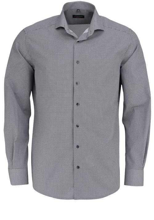 ETERNA Modern Fit Hemd extra langer Arm Haifischkragen Muster grau