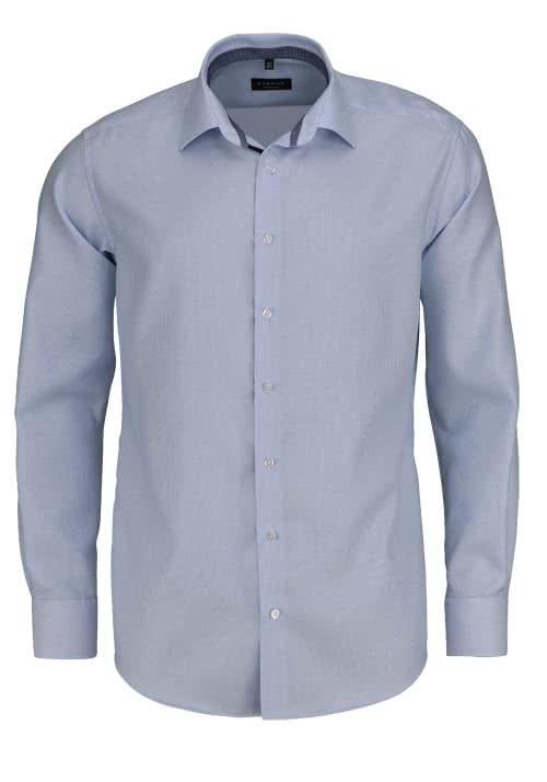 ETERNA Modern Fit Hemd extra kurzer Arm Twill Streifen hellblau