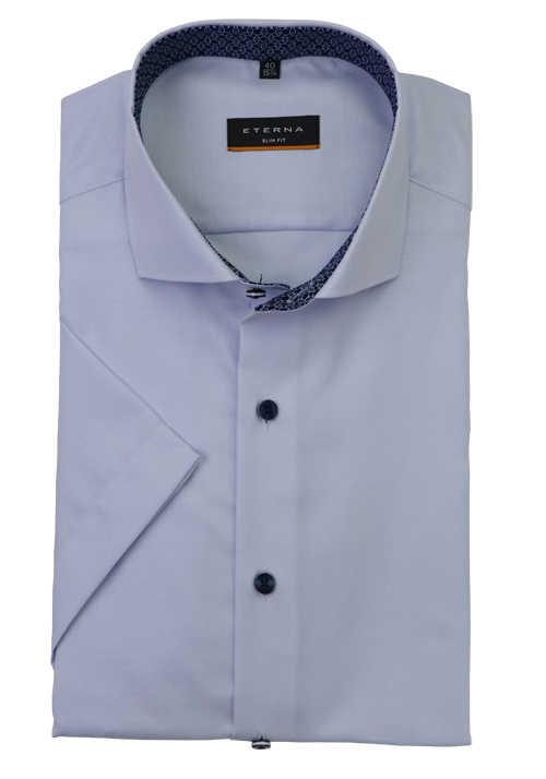 ETERNA Slim Fit Hemd Halbarm Haifischkragen Cool Shirt aqua