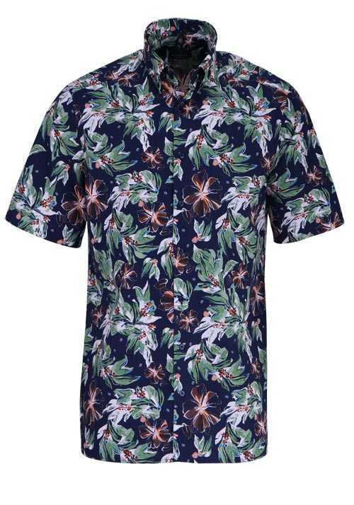 ETERNA Comfort Fit Hemd Halbarm florales Muster blau
