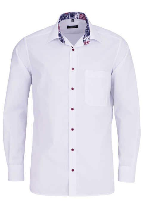 ETERNA Comfort Fit Hemd super langer Arm Kragen mit Besatz weiß
