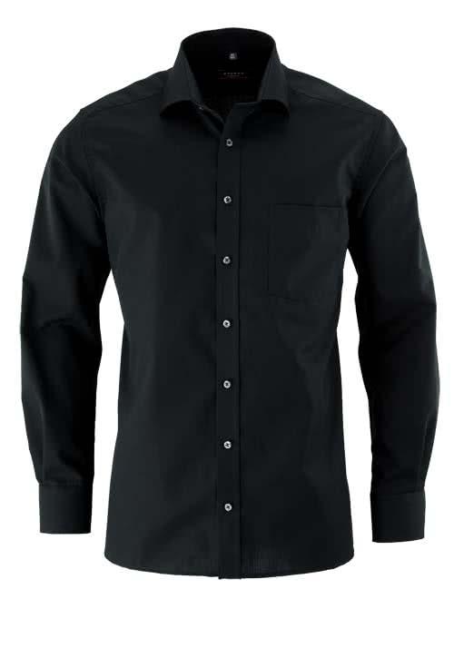 ETERNA Modern Fit Hemd Langarm mit Brusttasche schwarz