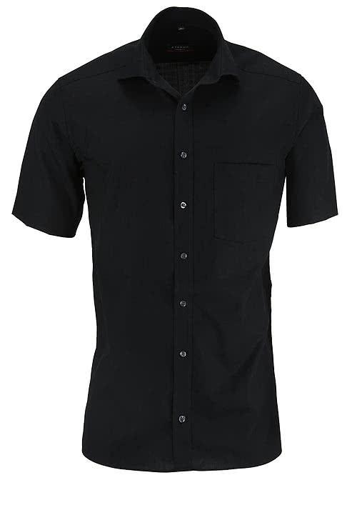 ETERNA Modern Fit Hemd Halbarm mit Brusttasche Popeline schwarz