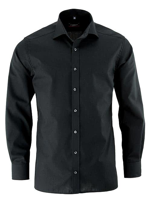 ETERNA Modern Fit Hemd Langarm mit New Kent Kragen Popeline schwarz