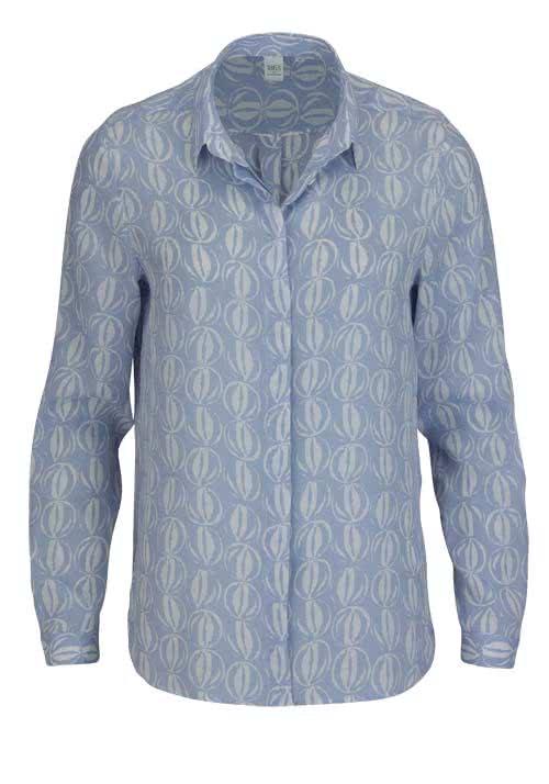 ETERNA Modern Fit Bluse Langarm Hemdkragen Muster hellblau