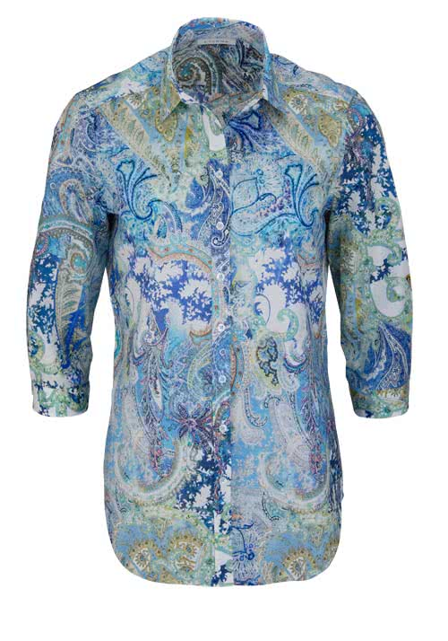 ETERNA Comfort Fit Bluse 3/4 Arm Hemdkragen Muster blau