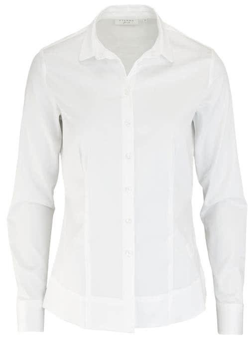 ETERNA Slim Fit Bluse Langarm Hemdkragen Stretch weiß