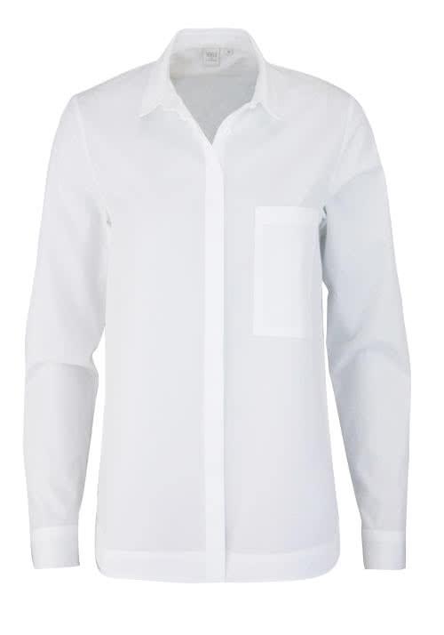 ETERNA Modern Fit Bluse Langarm Hemdenkragen Brusttasche weiß
