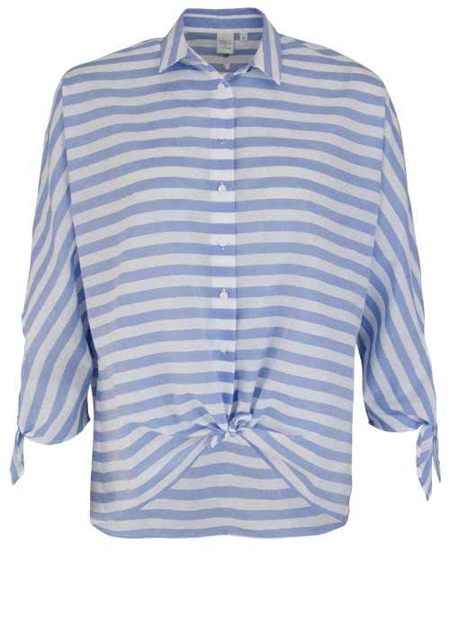ETERNA Modern Fit Bluse 3/4 Arm Hemdenkragen Ringel hellblau