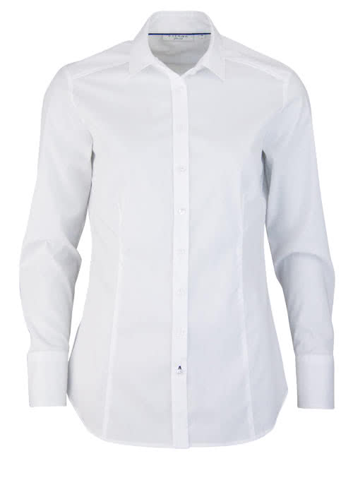 ETERNA Slim Fit Bluse Langarm Hemdenkragen Stretch weiß