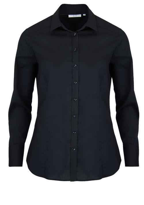 ETERNA Slim Fit Bluse Langarm Hemdenkragen Stretch schwarz